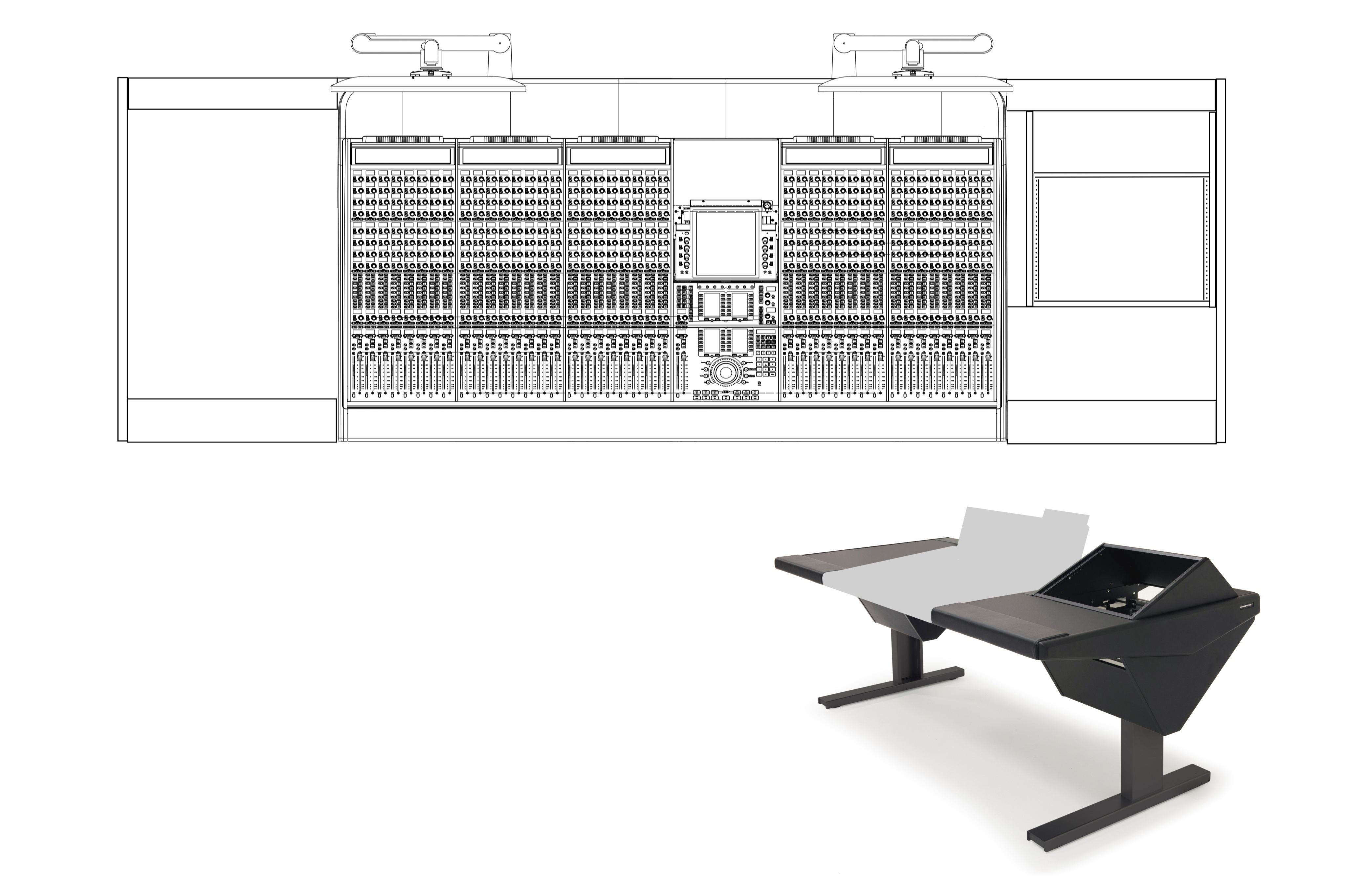 40 Fader System with Desk (L) and Rack (R)